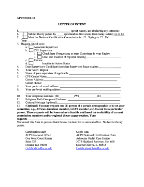 APPENDIX 10 LETTER OF INTENT I print name am declaring - acpe