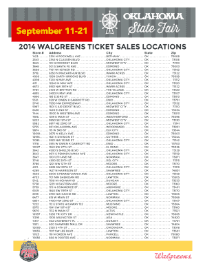 2014 WALGREENS TICKET SALES LOCATIONS - Oklahoma State Fair
