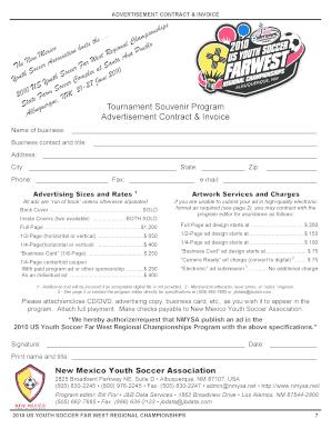 Fillable Online Tournament Souvenir Program Advertisement Contract ...