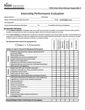 Internship Performance Evaluation - George Mason University