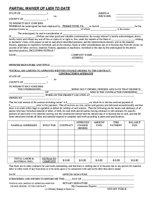 Fillable partial waiver of lien to date download for Partial lien waiver template