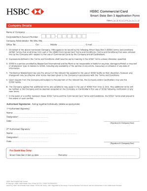 Fillable Online business hsbc Smart Data Gen 2 Application Form