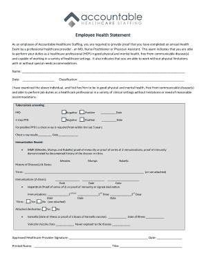 statement of good health sample