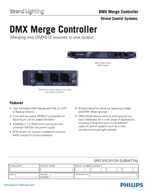 Fillable Online Strand Control Systems DMX Merge Controller Fax