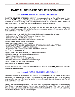 Partial release of lien form pdf - tolianbiz Home Fill