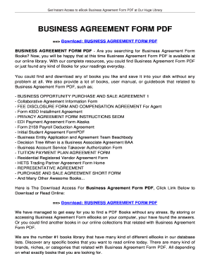 Business Agreement Form Pdf Tolianbiz Home Fill Online