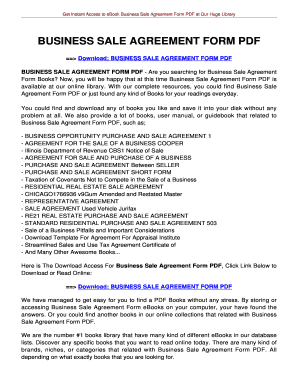 Business Sale Agreement Form Pdf   Your Happy Family