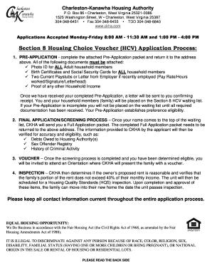 Fillable Online Section 8 Housing Choice Voucher HCV Application ...