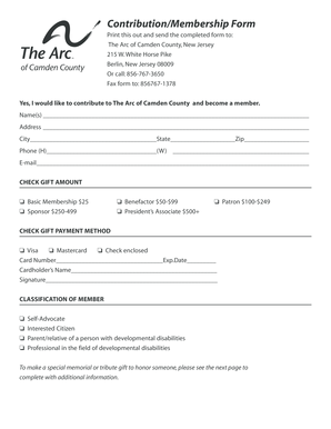 Fillable Online Download the Donation Form - The Arc of