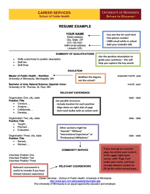 career services university of minnesota - Resume Examples For Customer Service Position