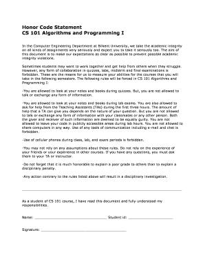 high school honor code statement