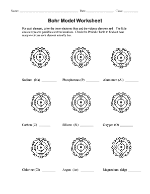 Fillable Online Bohr Model Worksheet Version 2 - Destiny High School ...