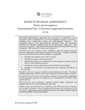 Sifma Bond Purchase Agreement Terms And Acceptance Fill