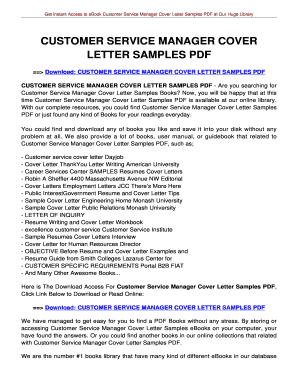 CUSTOMER SERVICE MANAGER COVER LETTER SAMPLES CUSTOMER SERVICE MANAGER COVER  LETTER SAMPLES