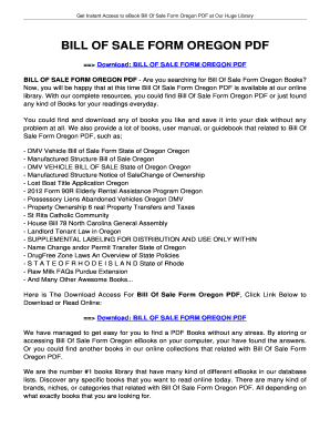 Fillable Oregon dmv bill of sale pdf fillable - Edit Online, Print ...