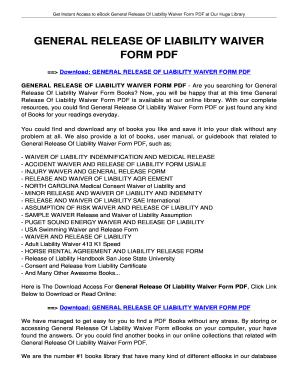 General Release Of Liability Waiver Form Pdf   Tolianbiz Home  General Liability Waiver Form