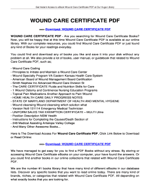 Fillable Online WOUND CARE CERTIFICATE WOUND CARE CERTIFICATE Fax