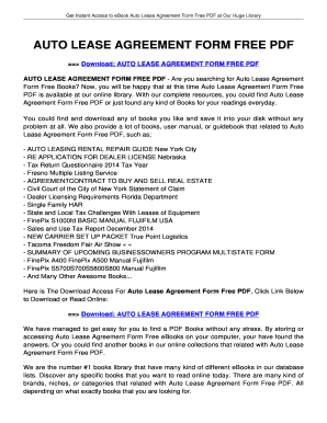 Fillable Online Auto Lease Agreement Form Free Pdf Your