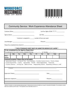 fillable online community service work experience attendance sheet