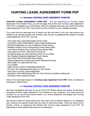 Hunting Lease Agreement | Fillable Online Hunting Lease Agreement Form Pdf Tolianbiz Home