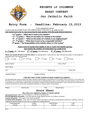 Fillable Online Knights Of Columbus Essay Contest Our Catholic Faith  Fill Online Science And Religion Essay also High School Persuasive Essay Topics  English Composition Essay