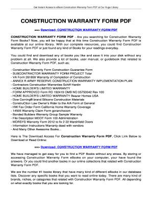 Fillable Online Construction Warranty Bformb Pdf