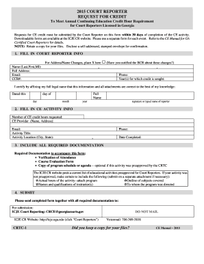 Annual Credit Report Request Form Fillable. 2015 Court Reporter Request For  Credit   Institute Of Continuing Judicial