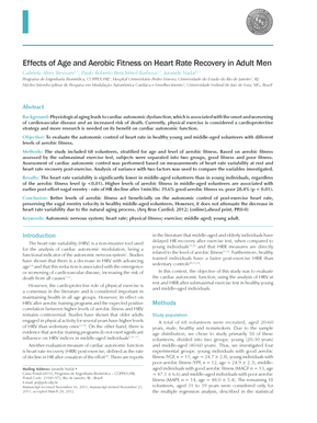 Effects of Age and Aerobic Fitness on Heart Rate Recovery