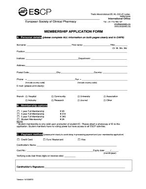 Fillable Online Escpweb Membership Application Form May 2009