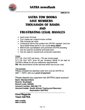 Fillable Online SATRA Tow Book Order Form Fax Email Print PDFfiller - Legal form books