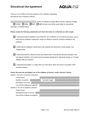 Educational Use Agreement - Aquaveo Fill Online, Printable