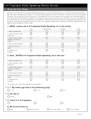 4 H Tropicana Public Speaking Parent Survey