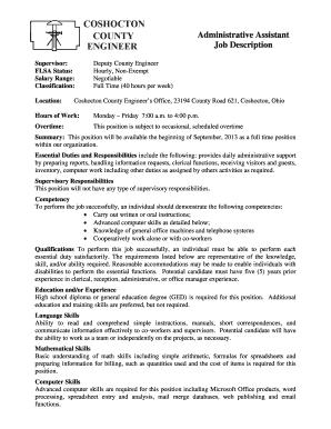 Administrative Assistant Job Description   Coshoctoncounty  Administrative Assistant Job Description
