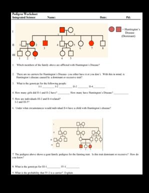 Fillable Online Pedigree Worksheet Integrated Science Name