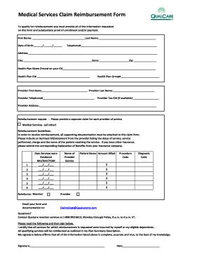 Qualcare Medical Claim Form on