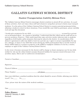 student transportation release form - Fillable & Printable ...