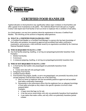 Fillable food handlers card practice test Form - Edit Online