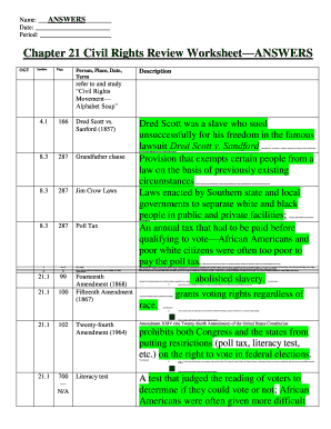 Fillable Online Chapter 21 Civil Rights Review Worksheet Answers Fax