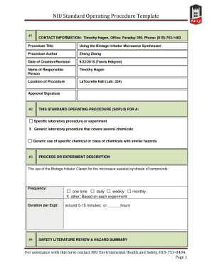 NIU Standard Operating Procedure Template - chembio niu