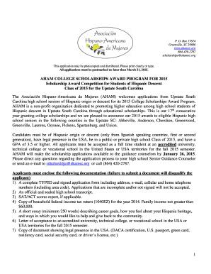 fillable online ahamsc aham college scholarships award program for