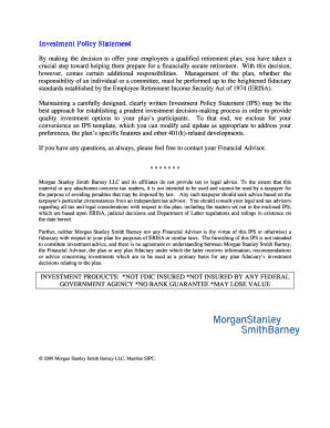 Fillable Online Investment Policy Statement - Morgan Stanley