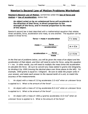 Fillable Online Newton39s Second Law of Motion Problems Worksheet ...