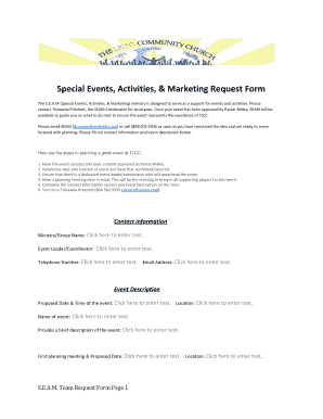 Fillable Online Special Events Activities Marketing Request Form Fax