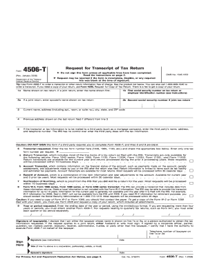 Form 4506T, Request for Transcript of Tax Return