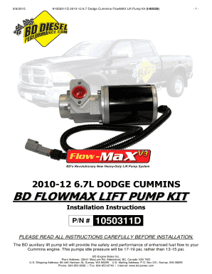 Fillable Online 2010-12 67L DODGE CUMMINS BD FLOWMAX LIFT