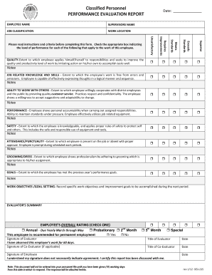 Classified Personnel PERFORMANCE EVALUATION REPORT