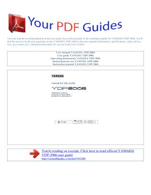 fillable online operating instructions yamaha ydp 2006 user manual rh pdffiller com Yamaha Owner's Manual Yamaha DSP Cinima User Manuals