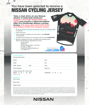 You have been selected to receive a NISSAN CYCLING JERSEY