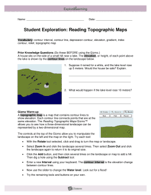 Fillable Online Student Exploration Reading Topographic Maps Fax - Reading topographic maps