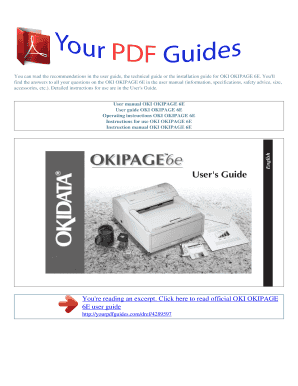 Operating instructions OKI OKIPAGE 6E User manual OKI OKIPAGE 6E